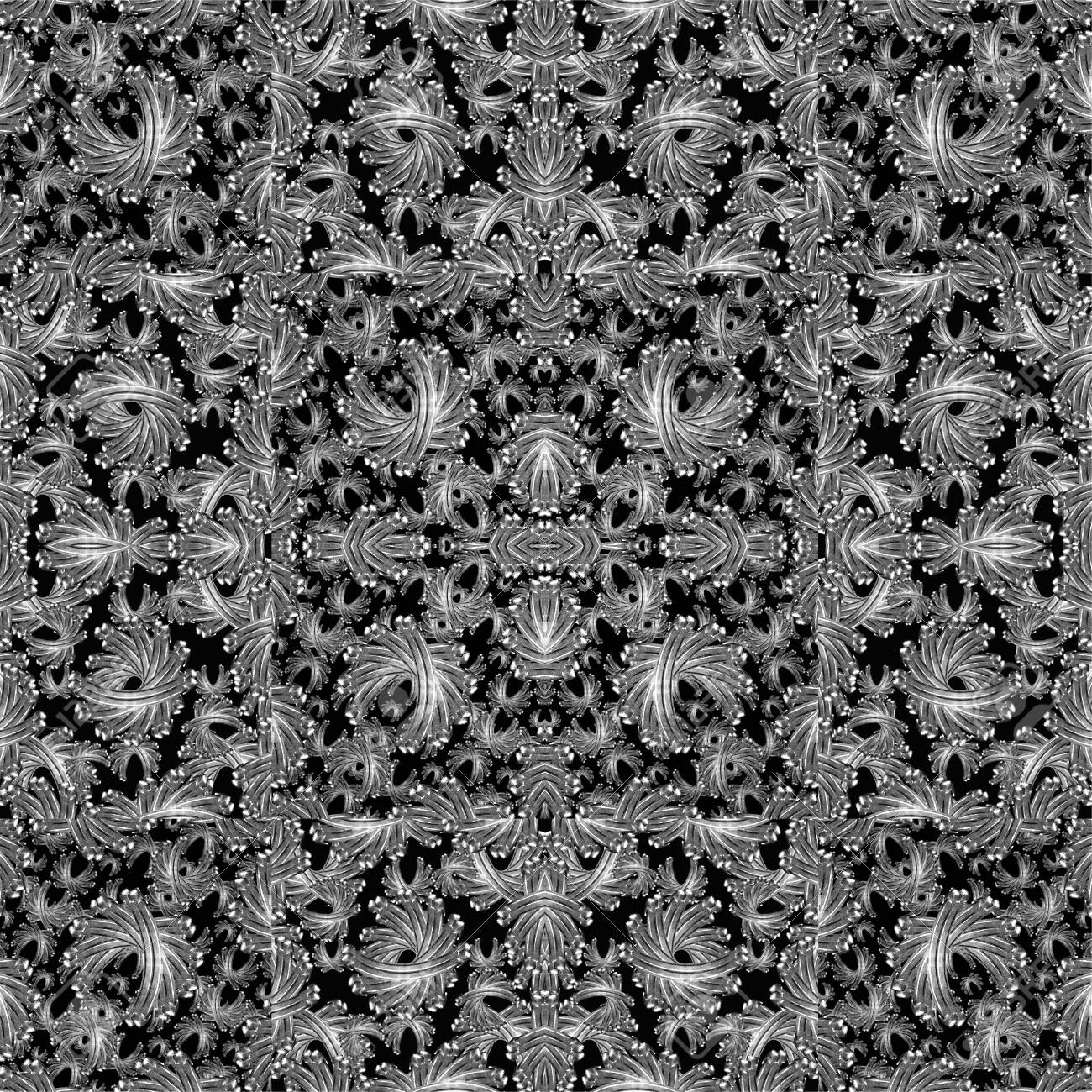 Banco De Imagens   Modern Baroque Style Ornament Decorative Abstract Shapes  Pattern Mosaic In Cold Tones And White Background.