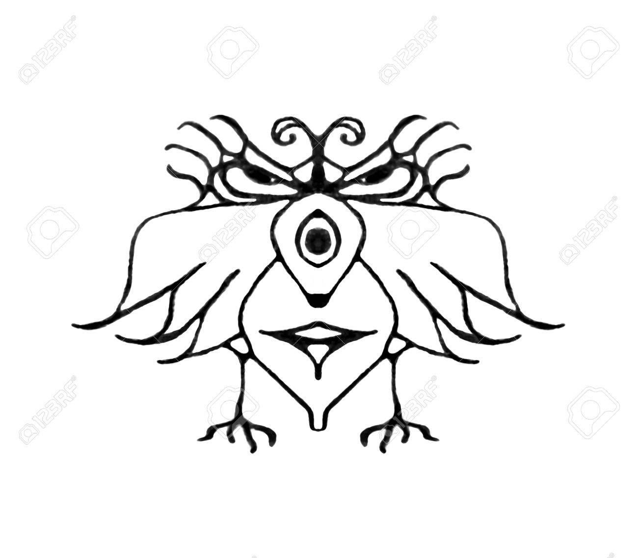 Noir Et Blanc Dessin Au Crayon Technique Fantastique Oiseau Avec Expression De Colère Ou De Grave Isolé Dans Un Fond Blanc