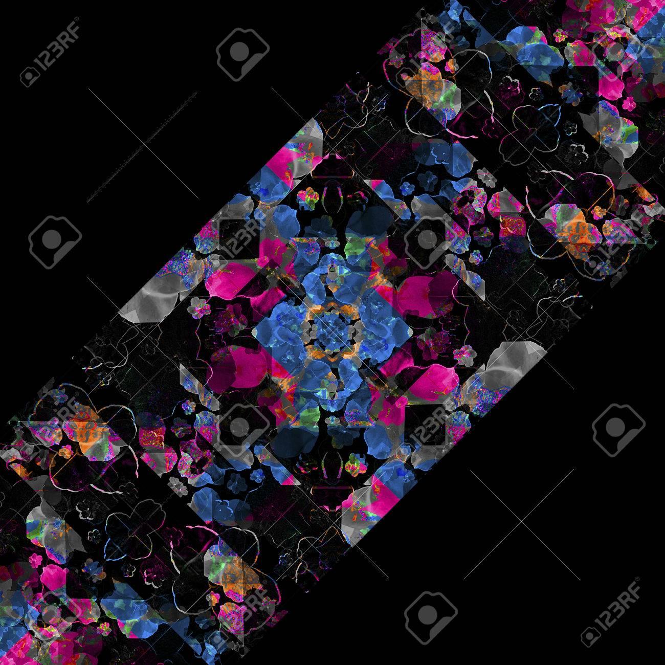 Fotograma De Fondo Negro Con El Collage Patrón Decorativo Adornado ...