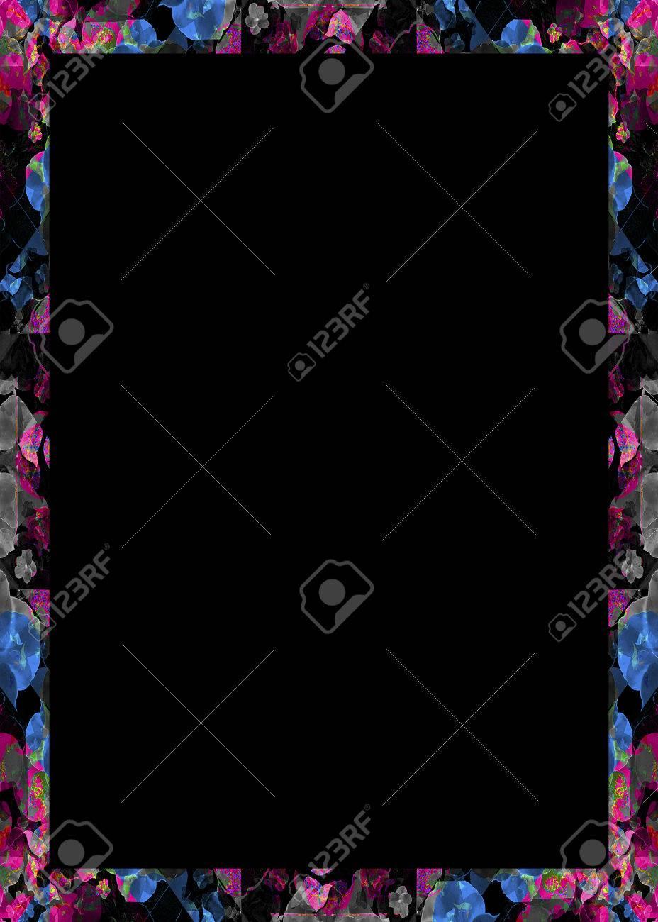 Fotograma De Fondo Negro Con Bordes Geométricos Decorativos Collage ...