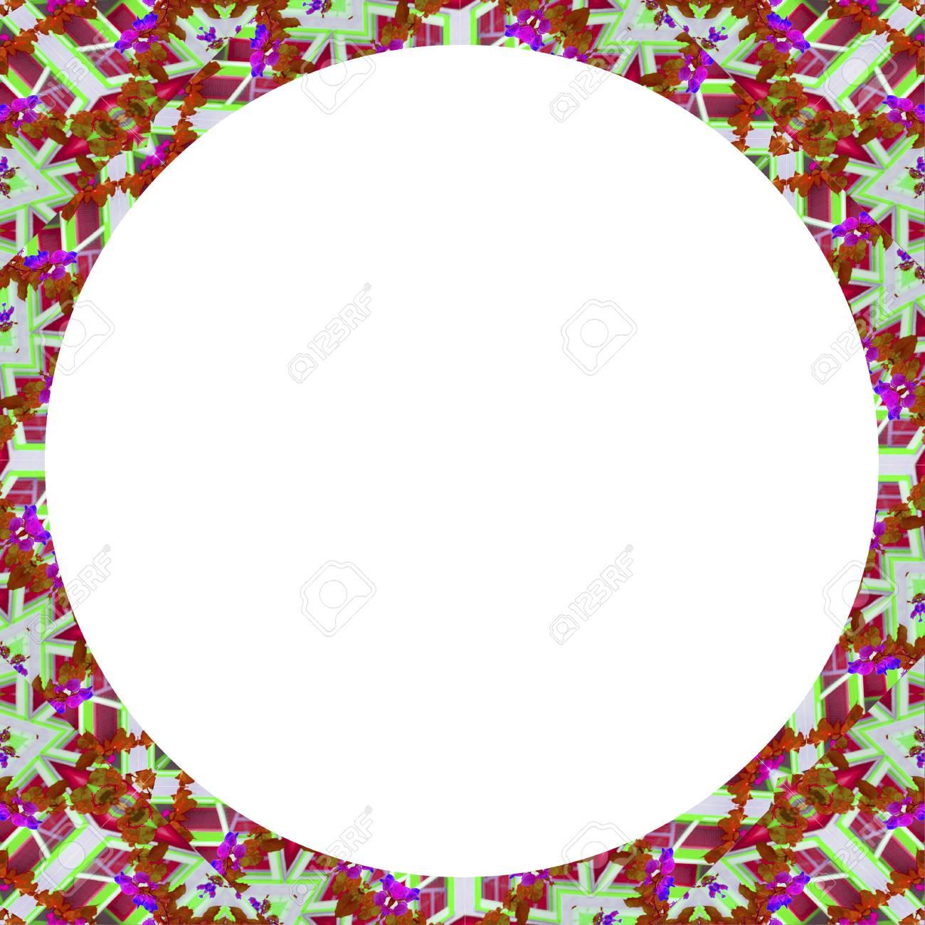 Weiße Kreis Rahmen Hintergrund Mit Dekorativen Geometrischen Muster ...