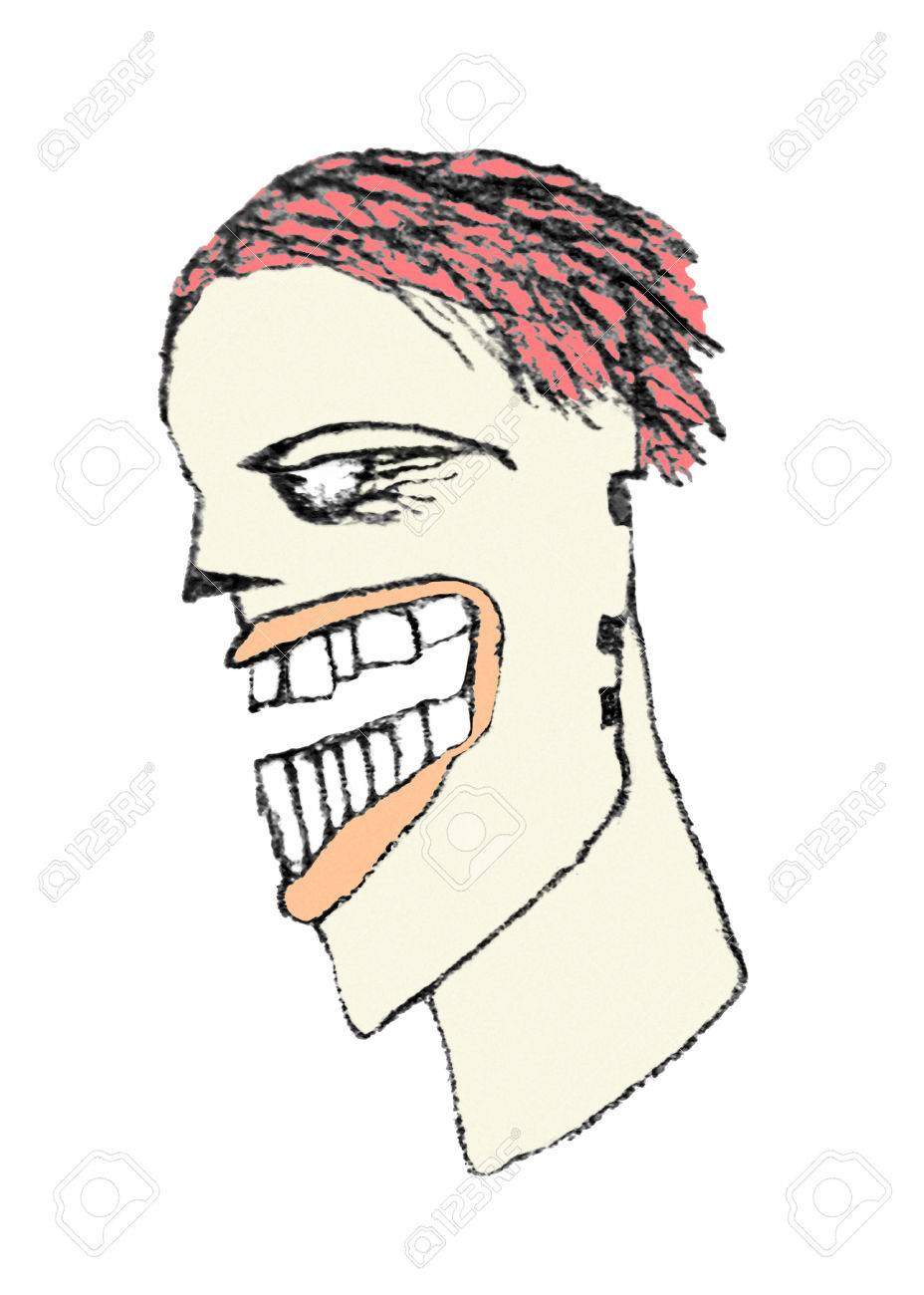 Pencil drawing technique side view portrait illustration of man with with evil eyes looking and red