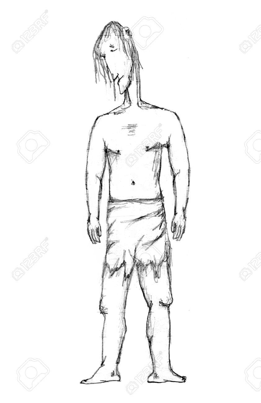 Dessin Corps Homme noir et blanc dessin au crayon caricature illustration représentant