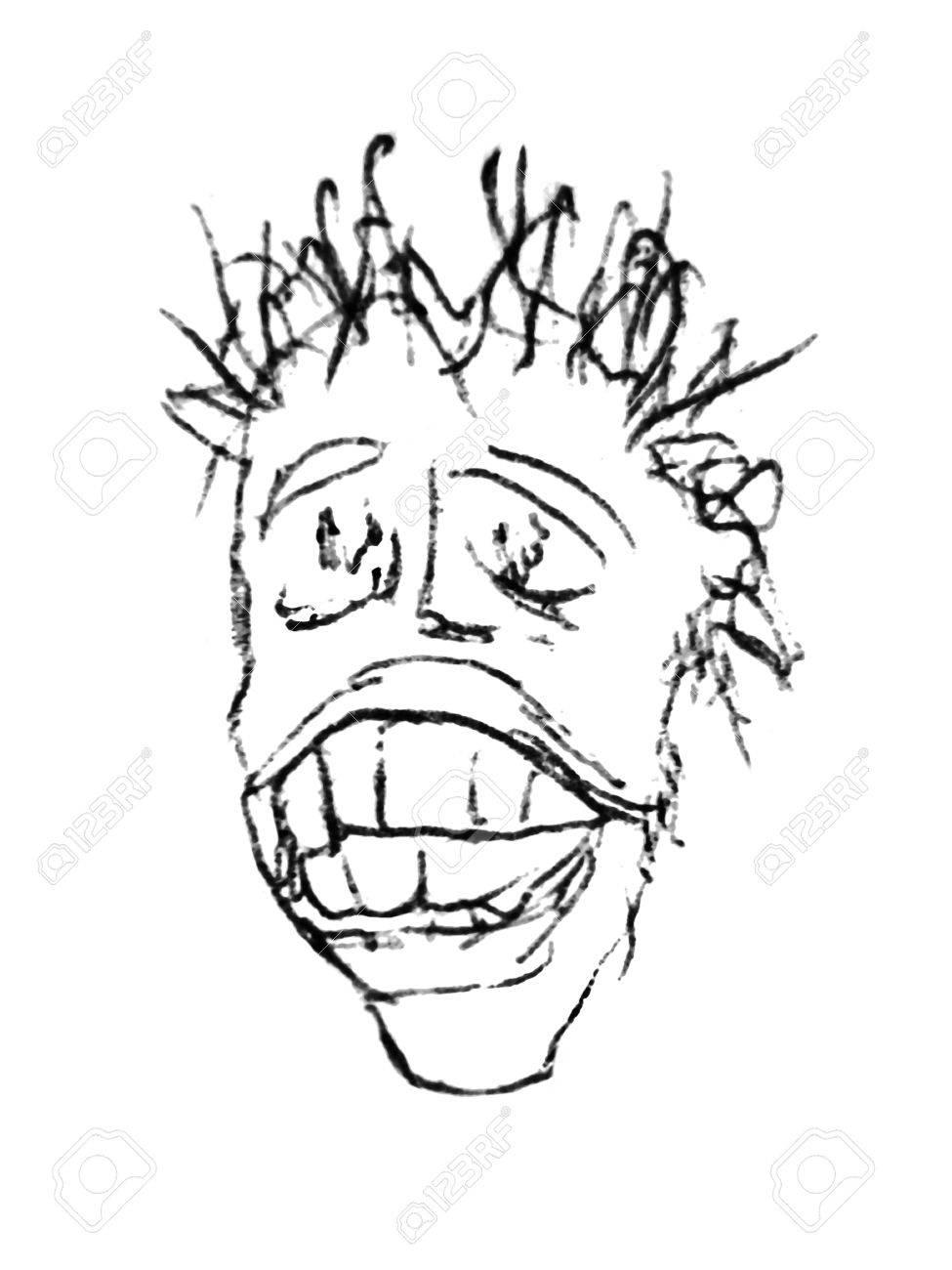 Pencil drawing sketch technique man portrait close up in black