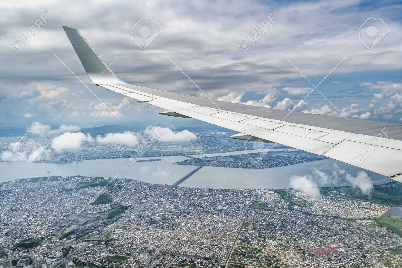Aerial View From Window Plane Of Guayaquil Ecuador Stock Photo