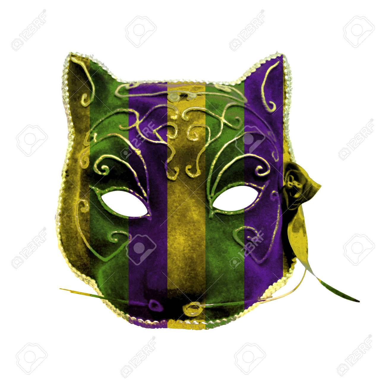 Hand Made Beatuy Venetian Style Catwoman Mask Colored With Mardi Gras Motif Stock Photo