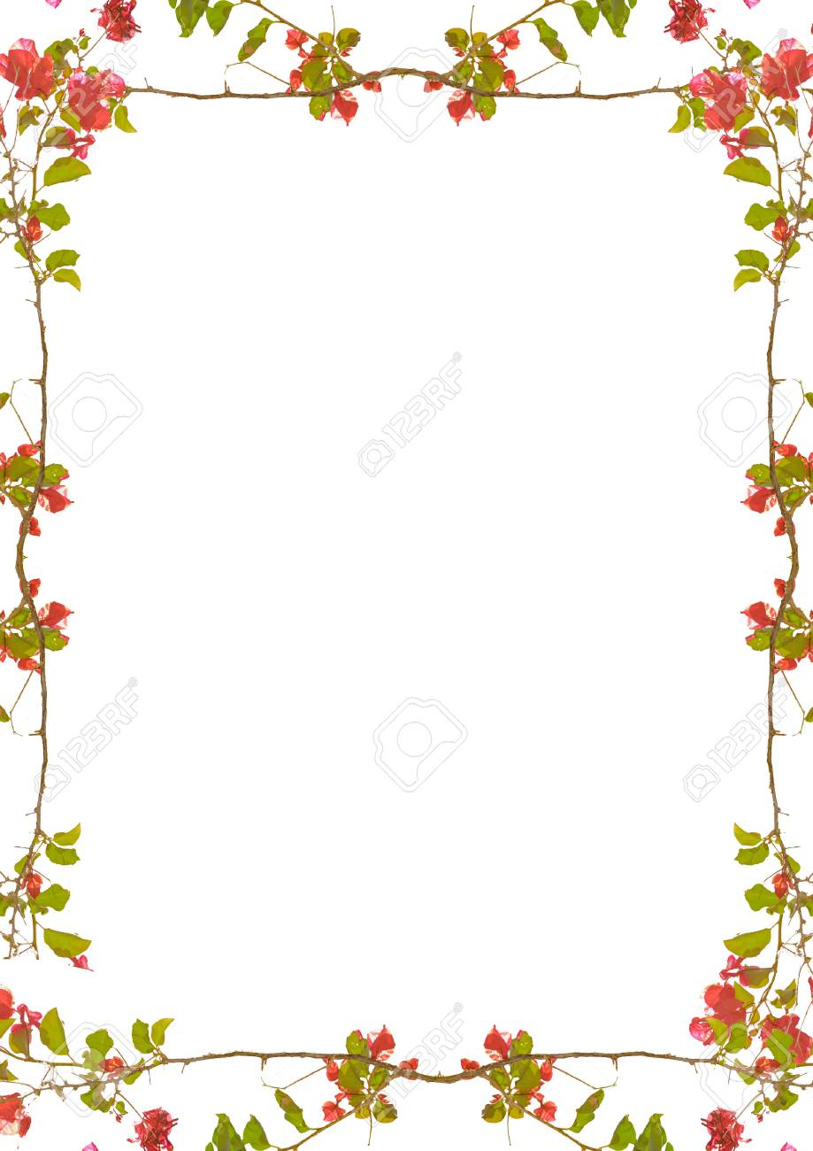 White Portrait Frame Background With Decorated Floral Design
