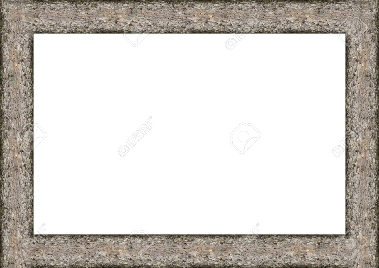 Rustic Wooden Trunbk Borders White Frame Background Stock Photo ...