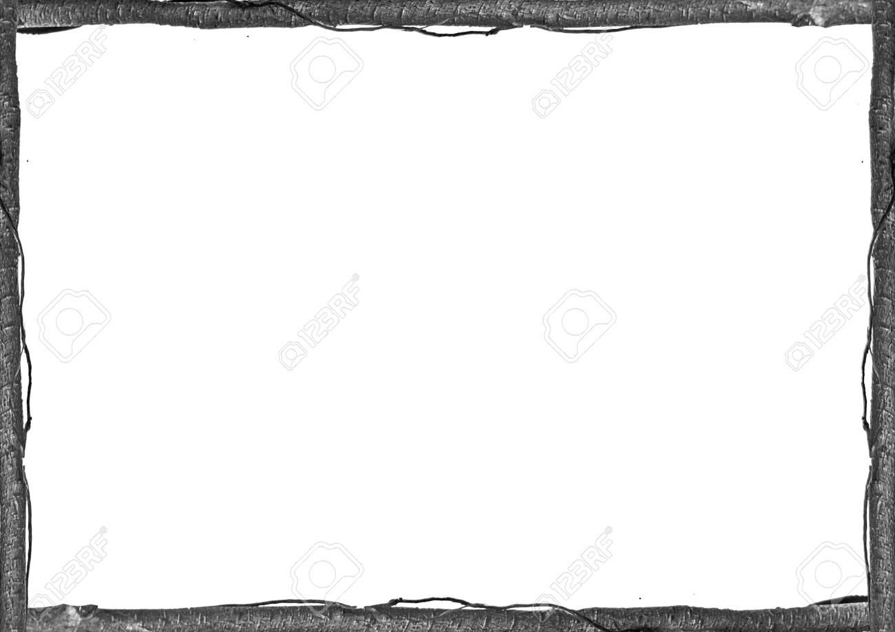 Rustic Wooden Trunbk Borders White Frame Background Stock Photo ...