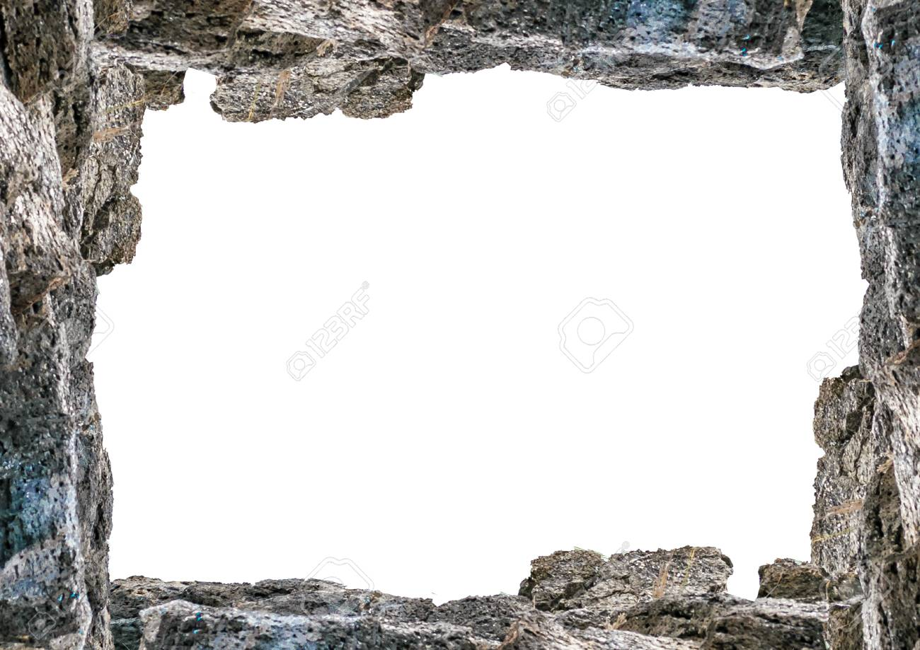White Frame Background With Decorated Rock Borders. Stock Photo ...