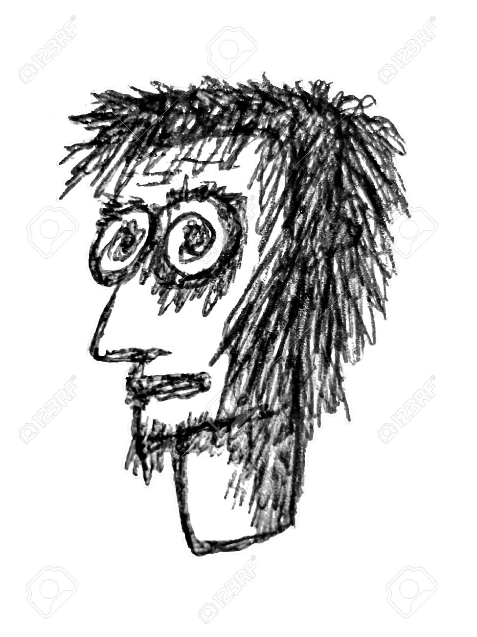 Black and white pencil drawing man head caricature on white background