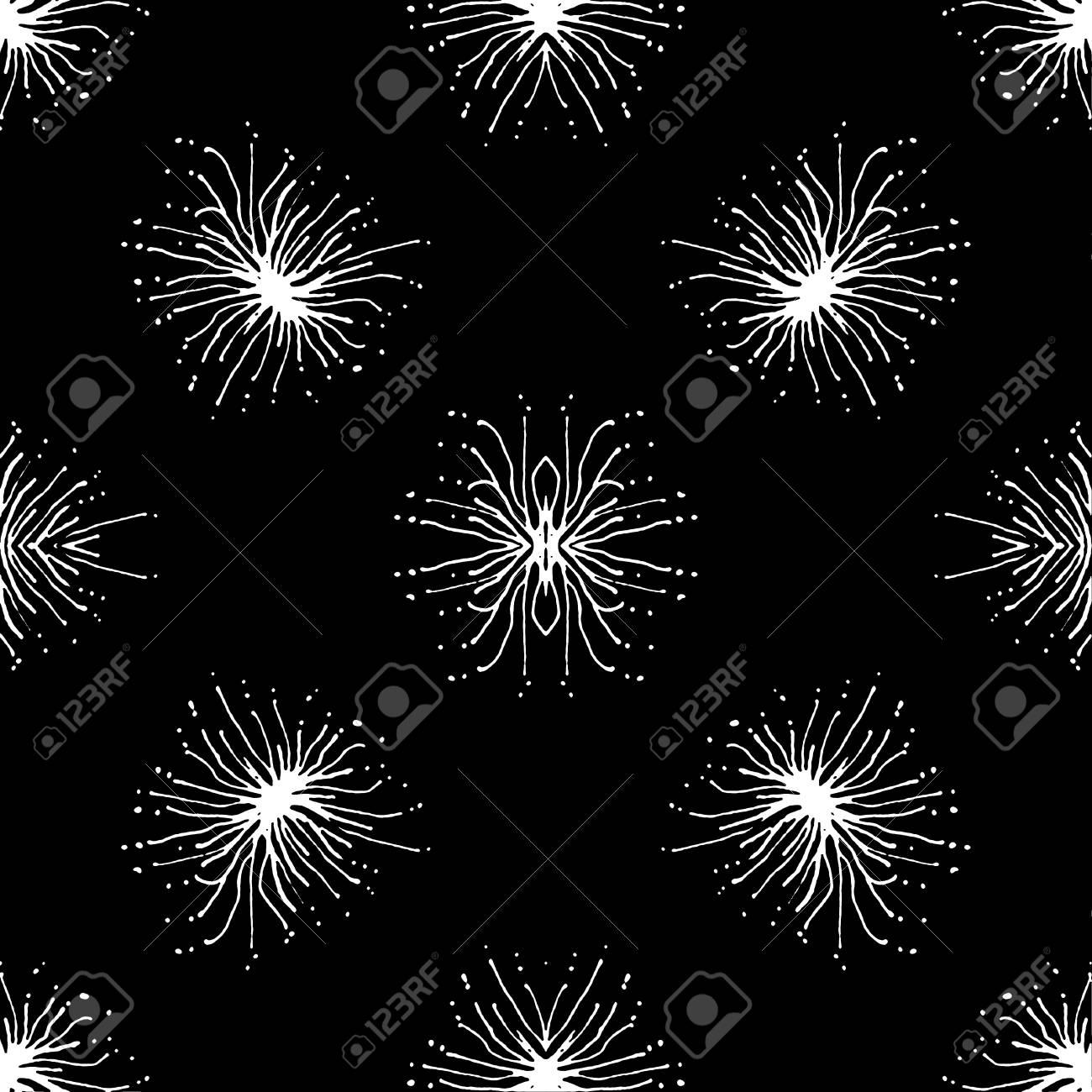 Hand draw radial shape stars motif black and white seamless pattern
