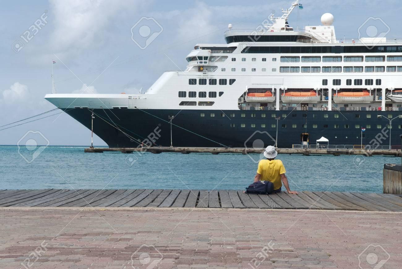 Large Cruise Ship Docked At The Port Of Aruba Caribbean Islands - Cruise ships in aruba
