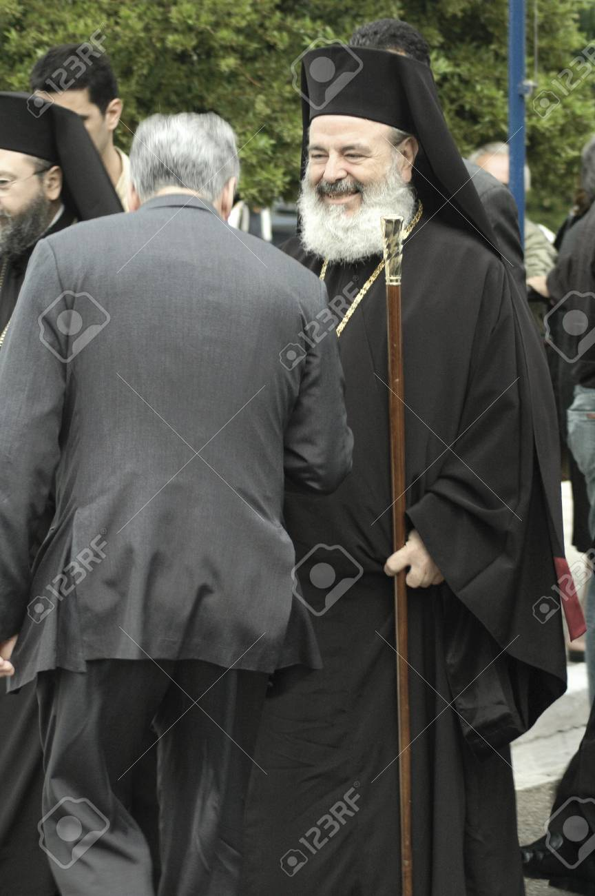 The forthright greek orthodox leader archbishop christodoulos the forthright greek orthodox leader archbishop christodoulos greeting pilgrims honoring the saint john the russian m4hsunfo Choice Image