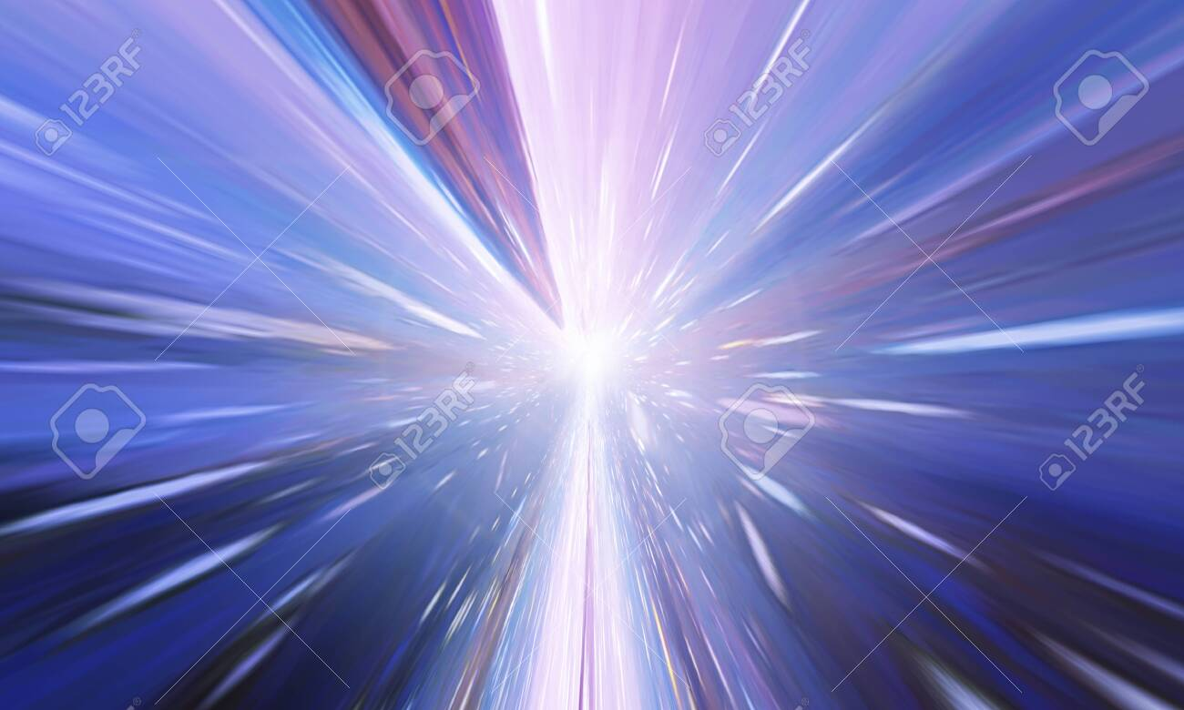 Flying Through Wormhole Tunnel Or Abstract Energy Vortex. Singularity, Gravitational Waves And Spacetime Concept - 128381729