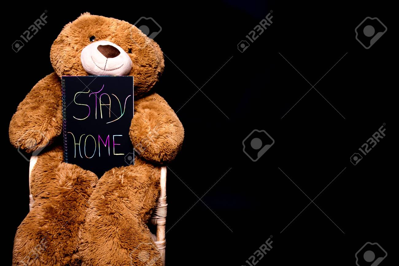 Hay Hay Chicken Stuffed Animal, Stay Home Message Writting On A Notepad And Held By A Brown Big Stock Photo Picture And Royalty Free Image Image 144110949