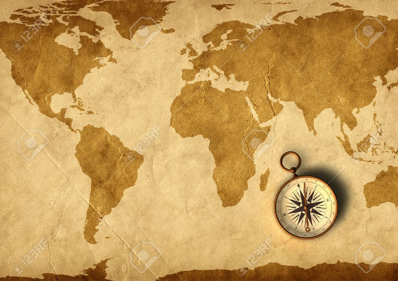 Old Map And Compass 3d Generated Stock Photo Picture And Royalty