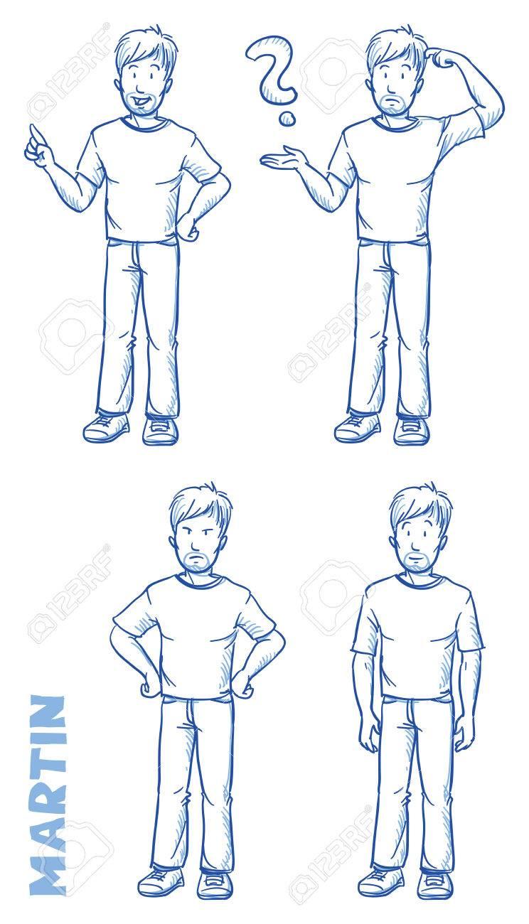 Lässig Mann Illustration In Verschiedenen Emotionen Lizenzfrei ...