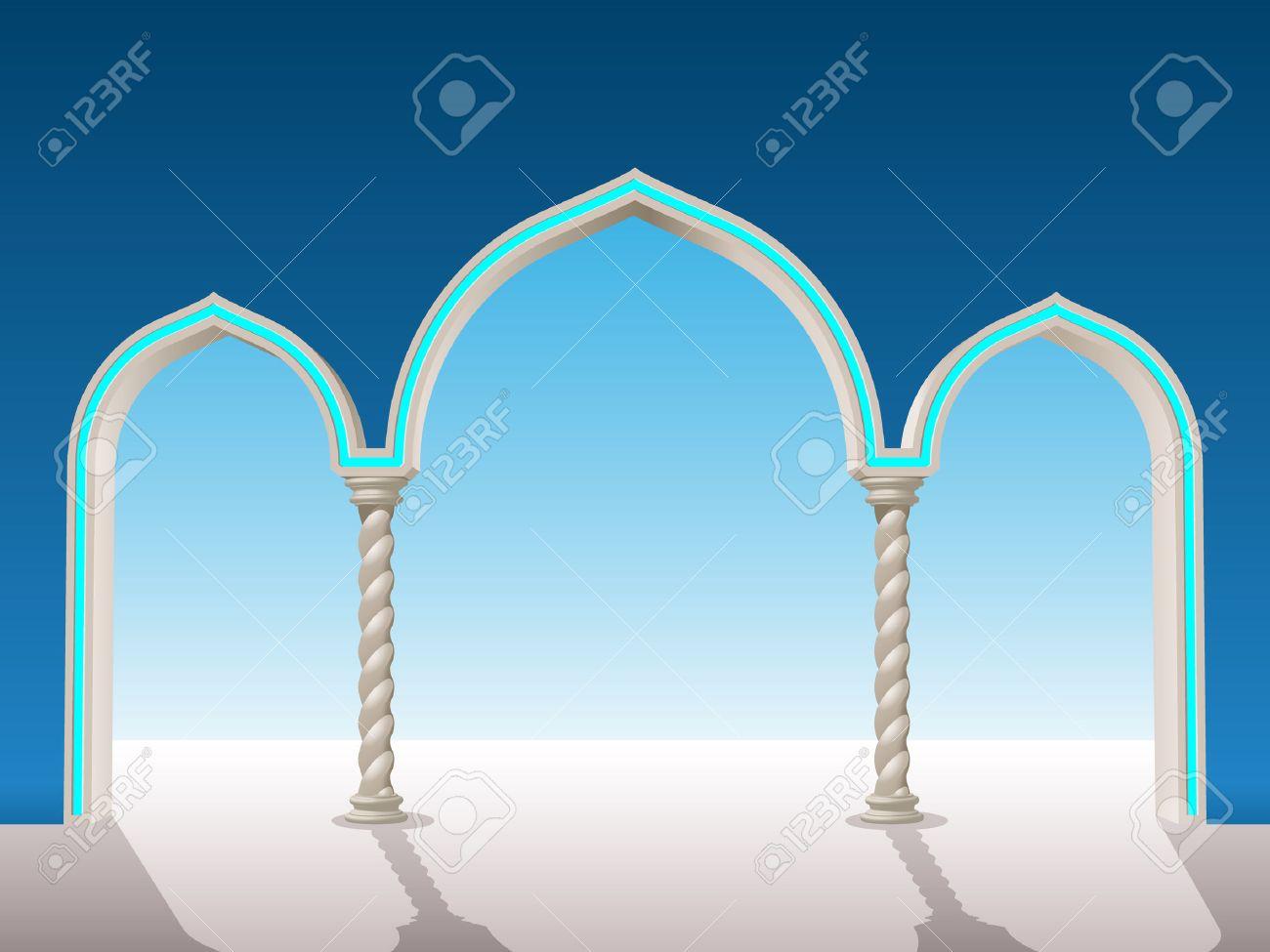 Orientalische Gips Torbogen Auf Dem Hintergrund, über Frame ...