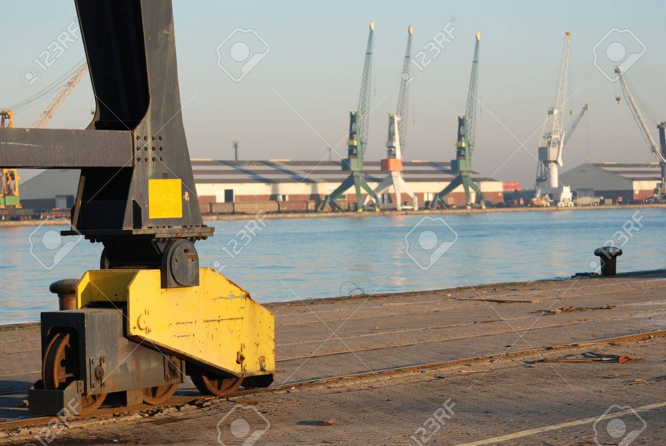 Detail of the wheels of a crane in the port of Antwerp Stock Photo - 2562979