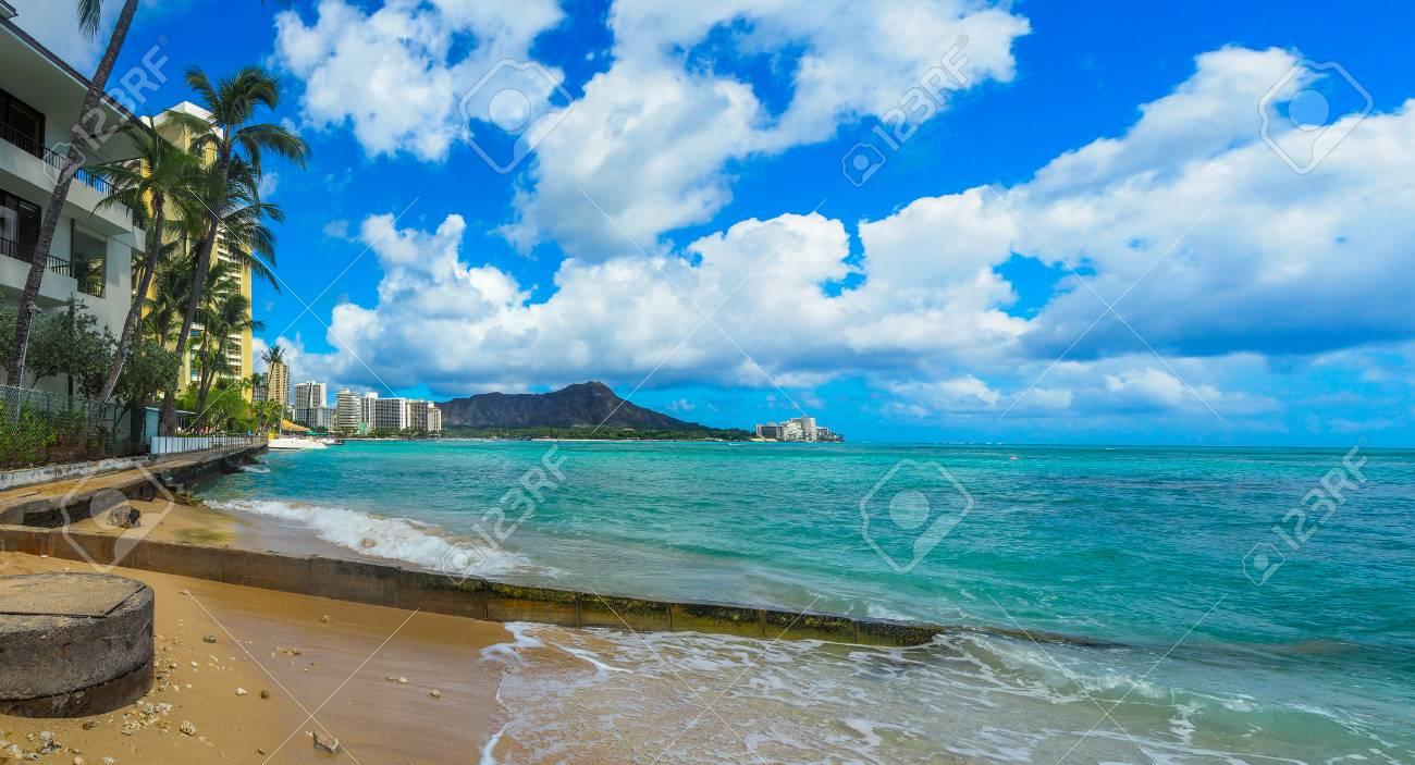 Diamond Head Volcano Seen From Waikiki Beach Hawaii