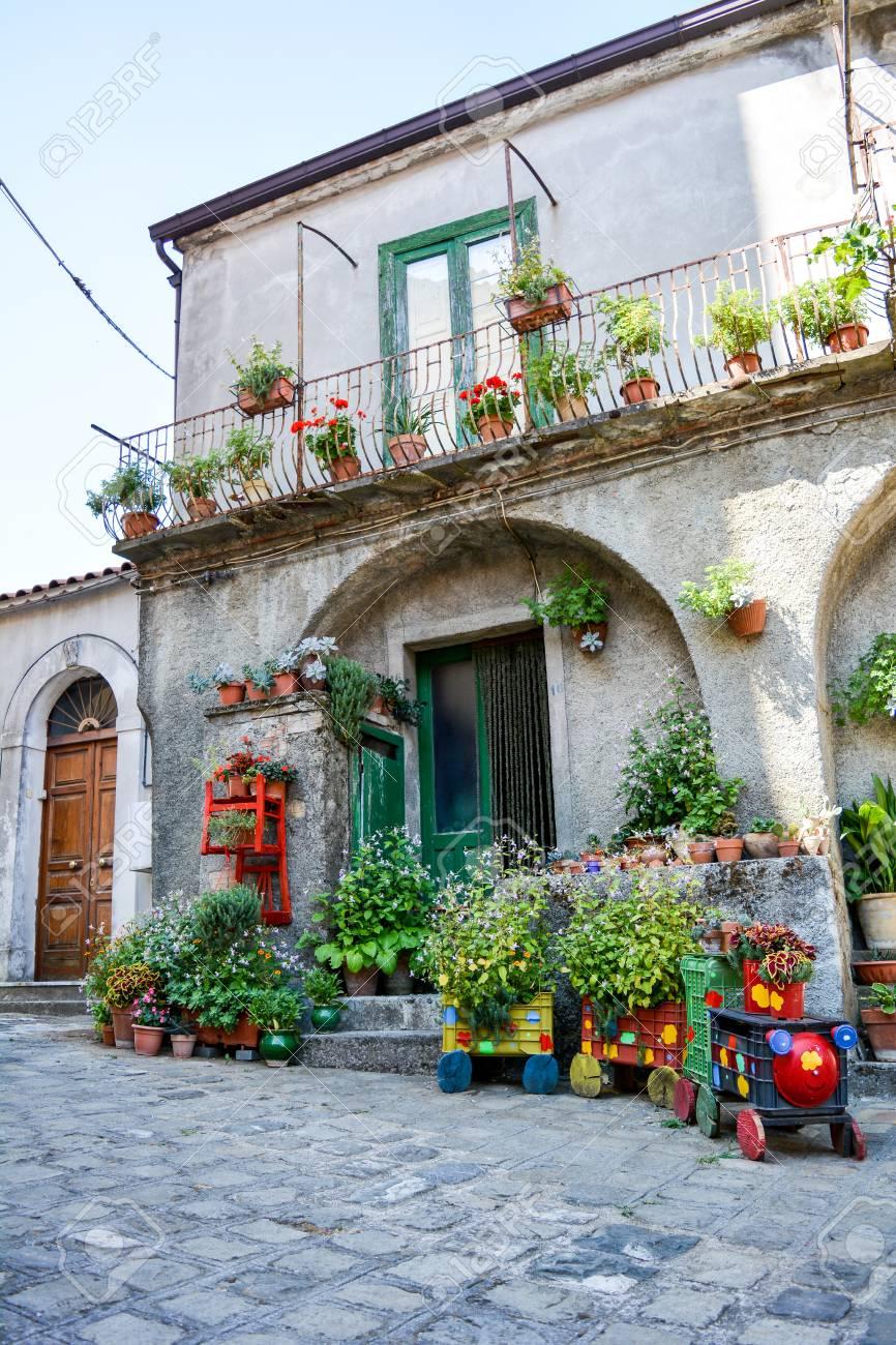 南イタリアの伝統的な花の咲く家...