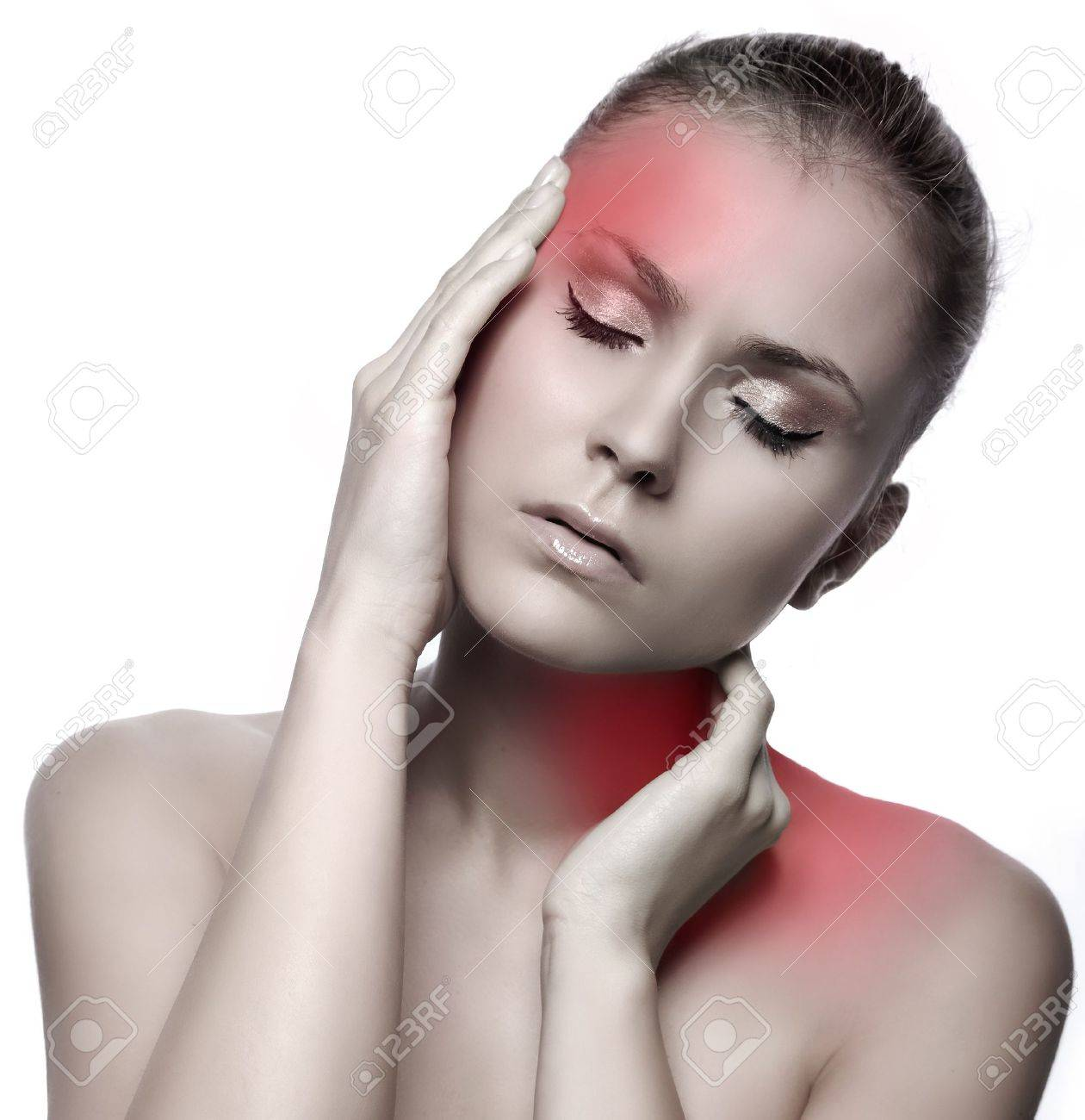 woman with headache on white background Stock Photo - 9884011