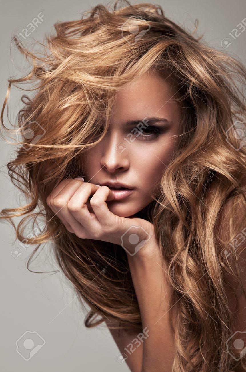 vogue style portrait of delicate blonde woman Stock Photo - 12406777