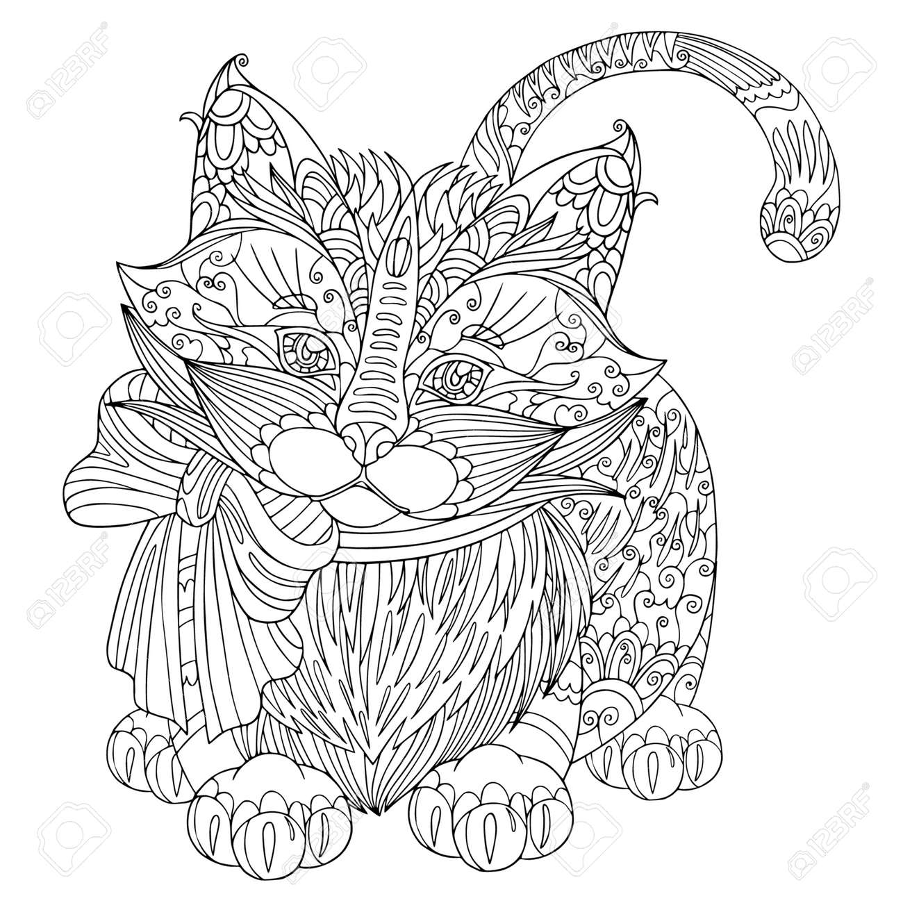 Coloring book page funny fluffy kitten with bow. Vector cat illustration with doodle elements for meditation and anti stress for adult. - 168293196