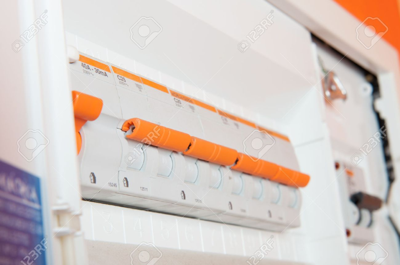 a small house fuse box stock photo - 23106809