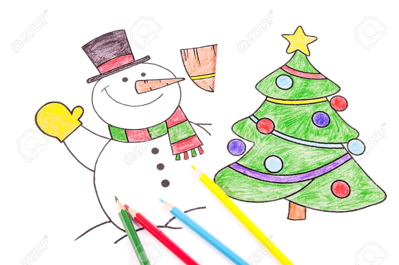 Drawings Of A Christmas Tree And A Snowman With Colored Pencil Stock ...