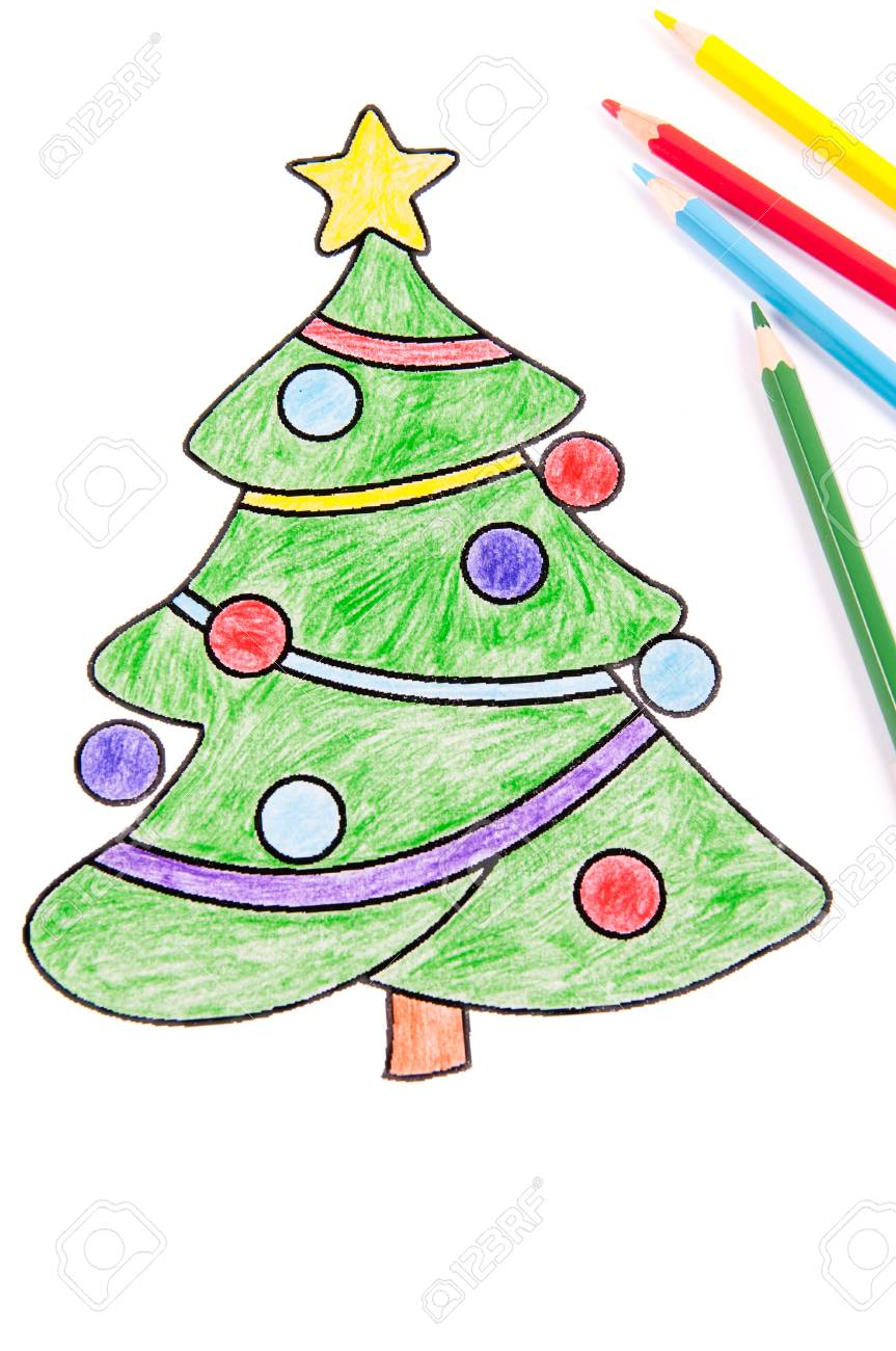 Drawing Of A Christmas Tree With Colorful Color Pencil Stock Photo ...