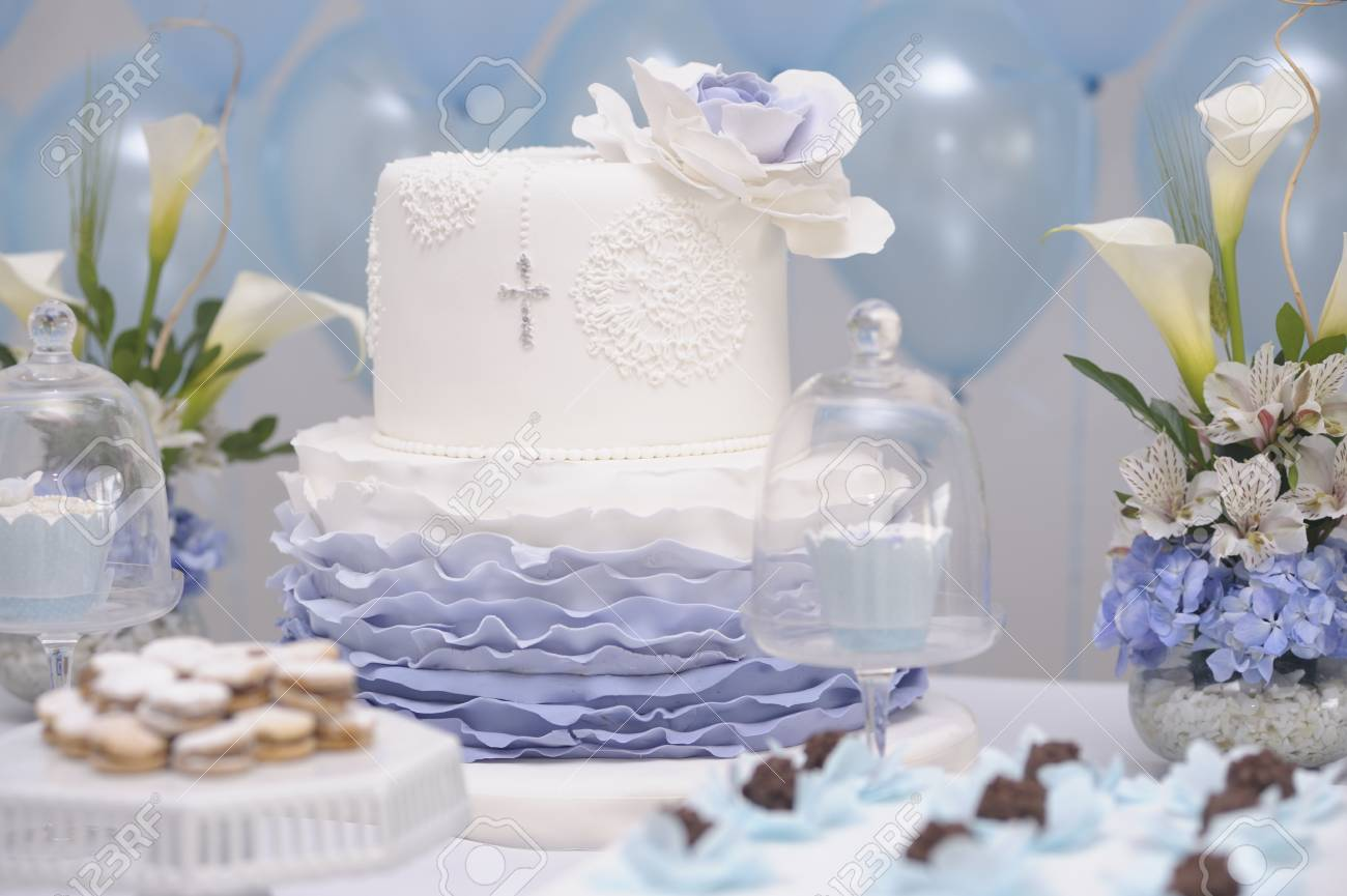 Cake For Catholic Baptism With A Cross