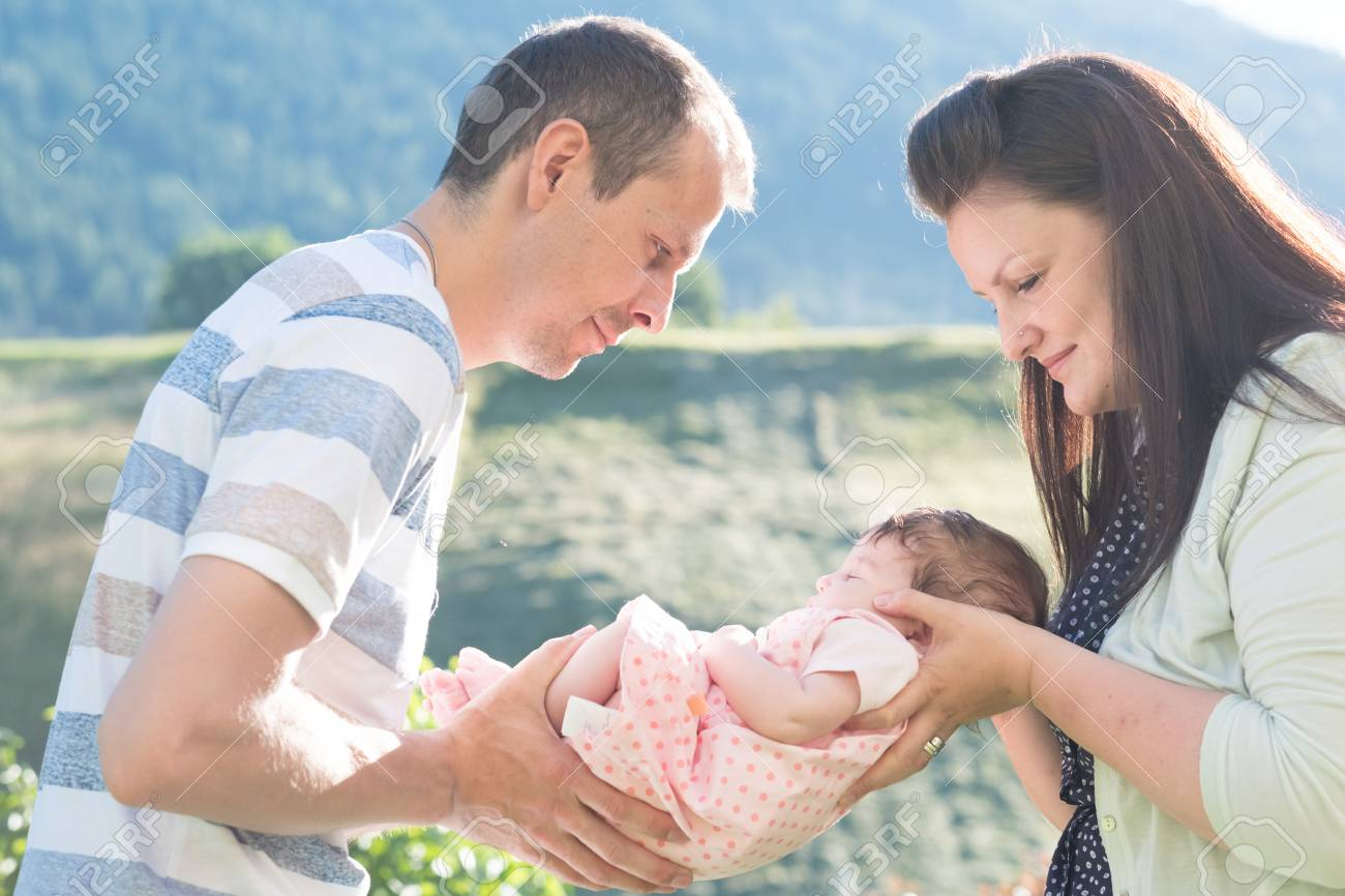 Baby shooting newborn family together stock photo 63542003
