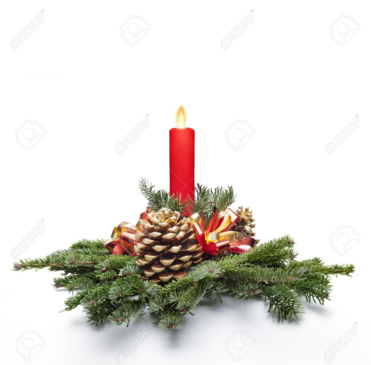 Decoración De La Pieza Central De Navidad Con Una Vela De Color Rojo ...