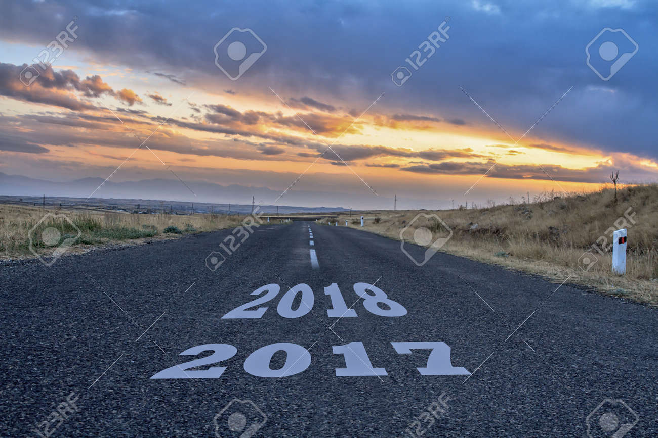 Asphalt road with a year date in it. - 146509552