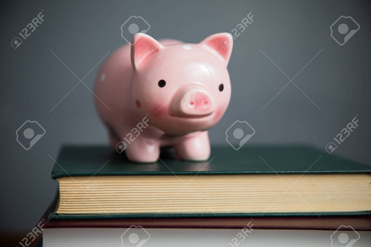 piggy bank on book on table - 152938310