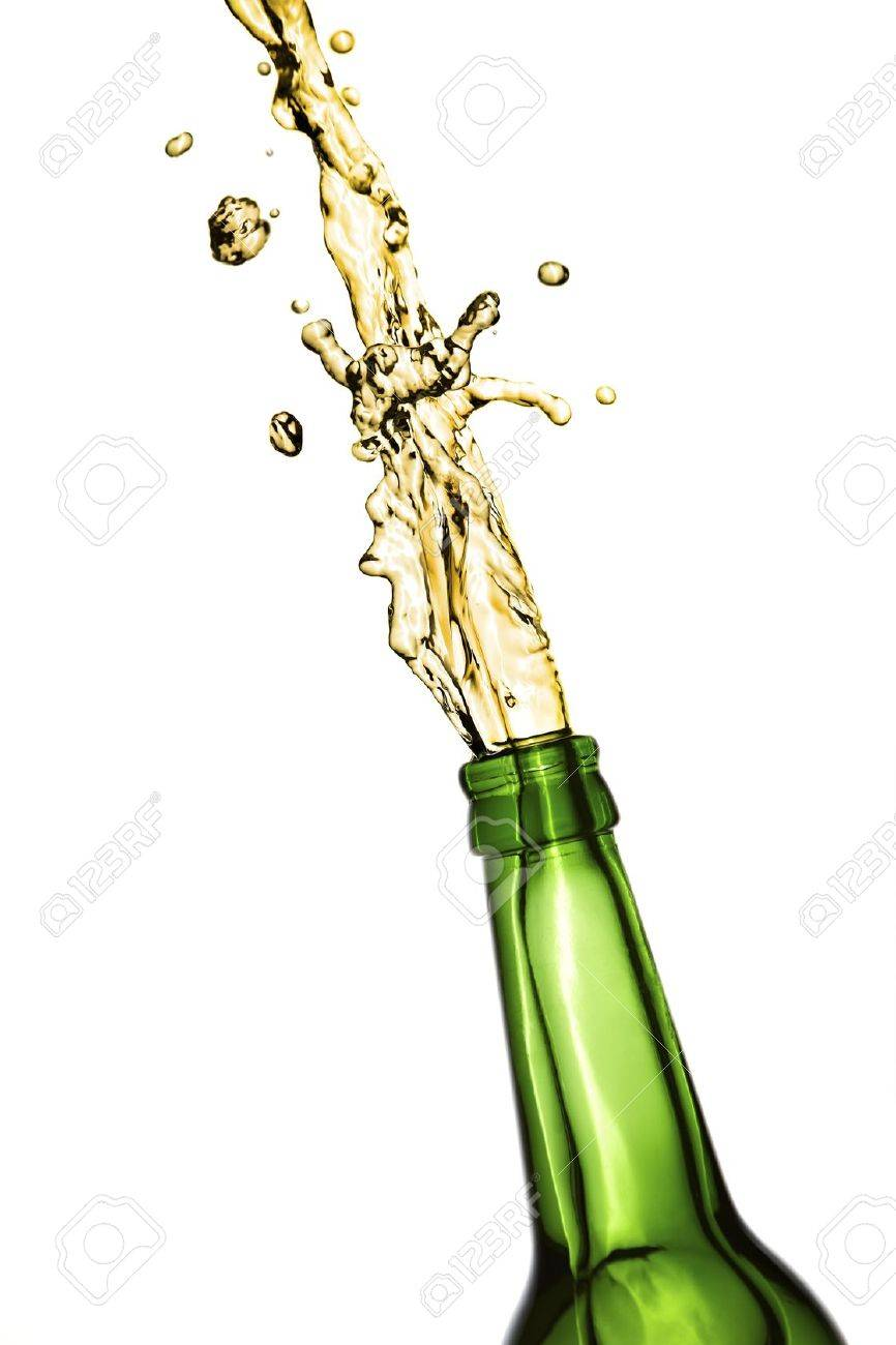 Bottle of beer opens with an explosion Stock Photo - 12426630