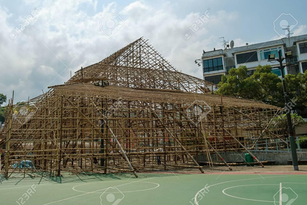 Einzigartiger Bambus Gerustbau Site In Hong Kong Lizenzfreie Fotos