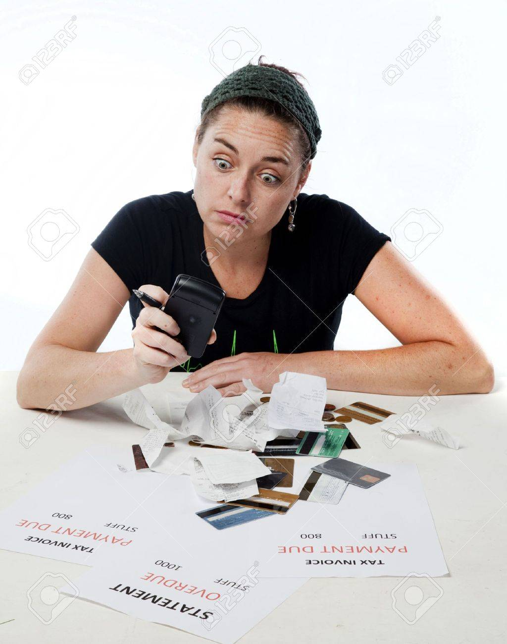 Frustrated woman shocked worried about her budget Stock Photo - 6219847