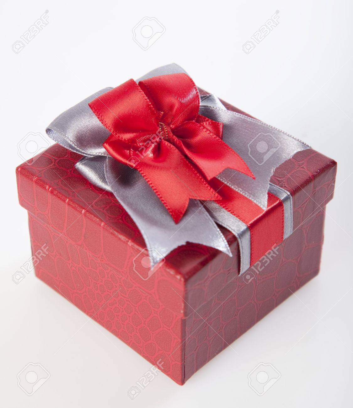 Beautiful Gift Box With A Big Red Ribbon Stock Photo, Picture And ...