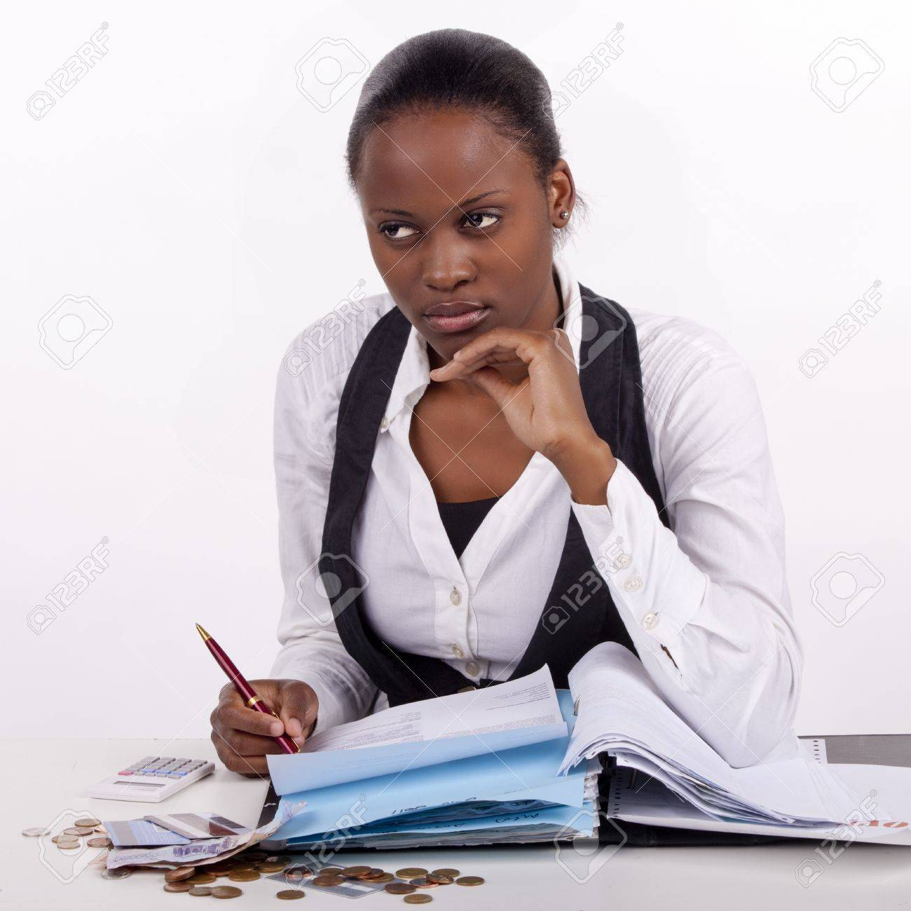 Young woman doing administrative work. Stock Photo - 13842287