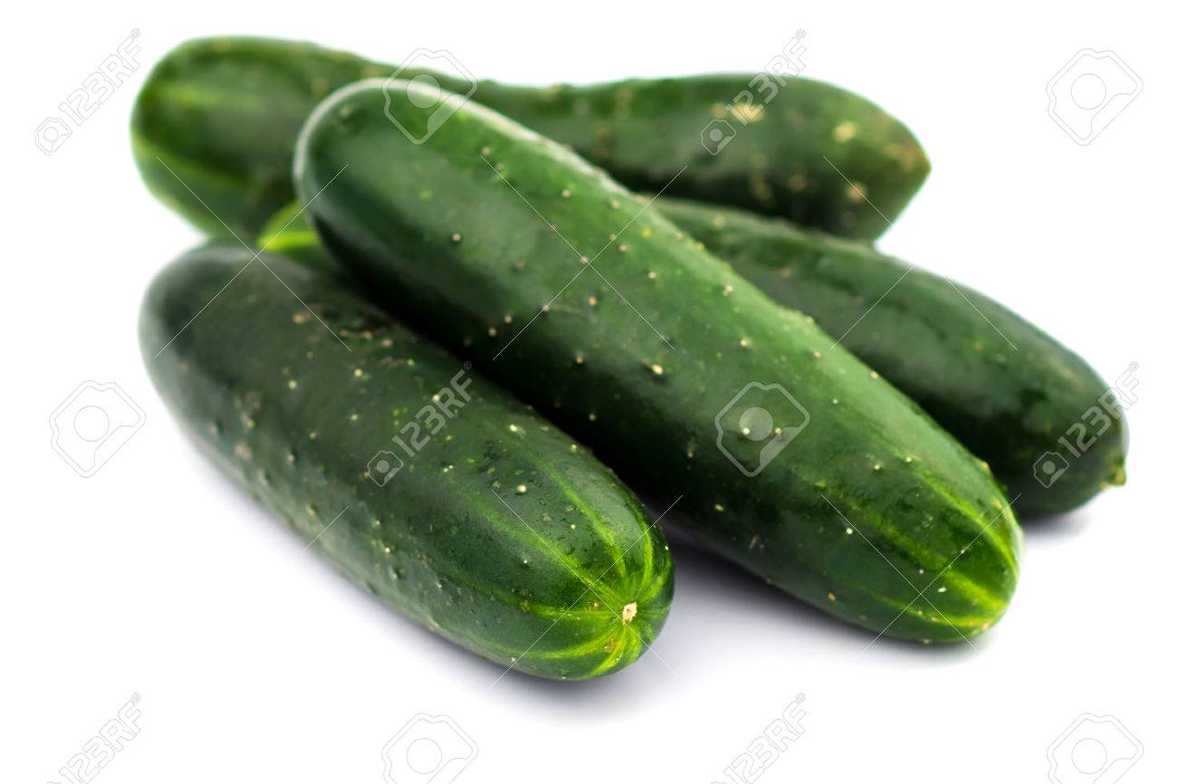 Fresh cucumbers isolated on white - 52595246