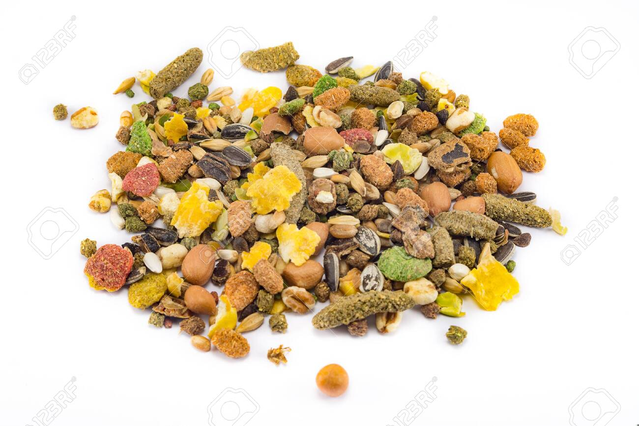 a variety of nutritious, balanced granulated food for rodents isolated on white background - 138134416