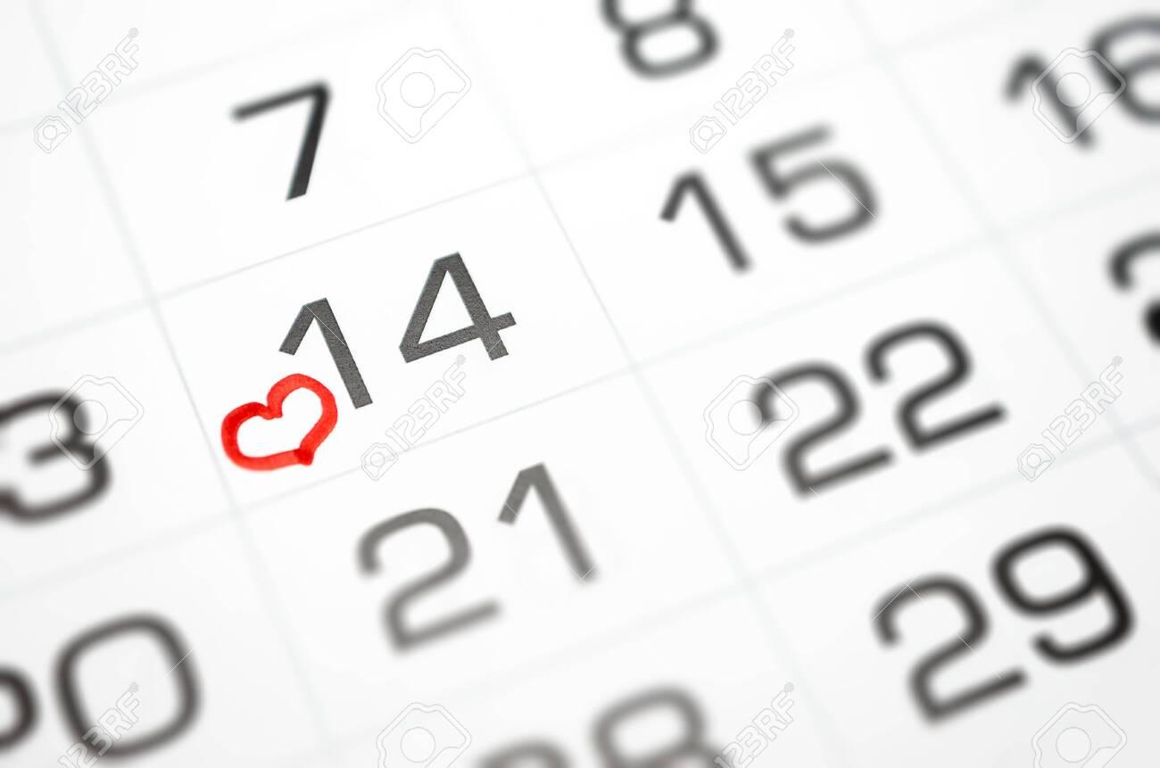 mark on the calendar February 14, Valentine's day soon, love, relationship - 140793837
