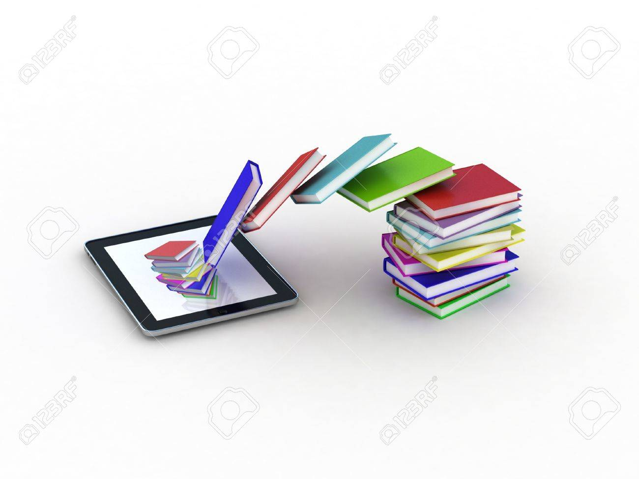 Books fly into your tablet, 3D Stock Photo - 11966173