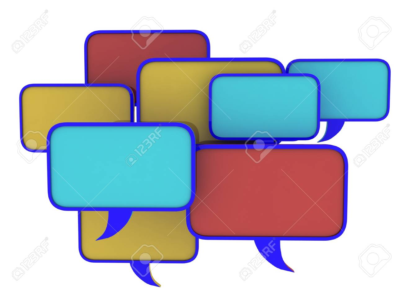 Speech bubbles set, 3D Stock Photo - 11966044