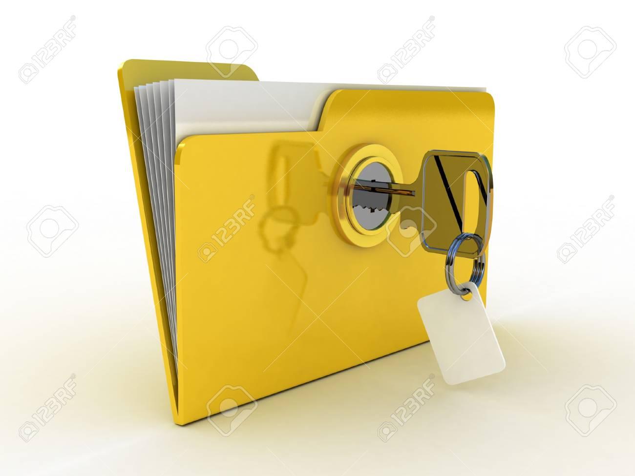 3d illustration of yellow folder locked with key,isolated over white Stock Illustration - 11966118