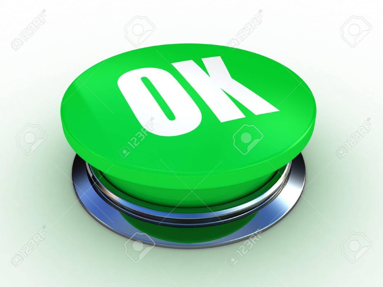 3d button OK green push technology press Stock Photo - 12115580