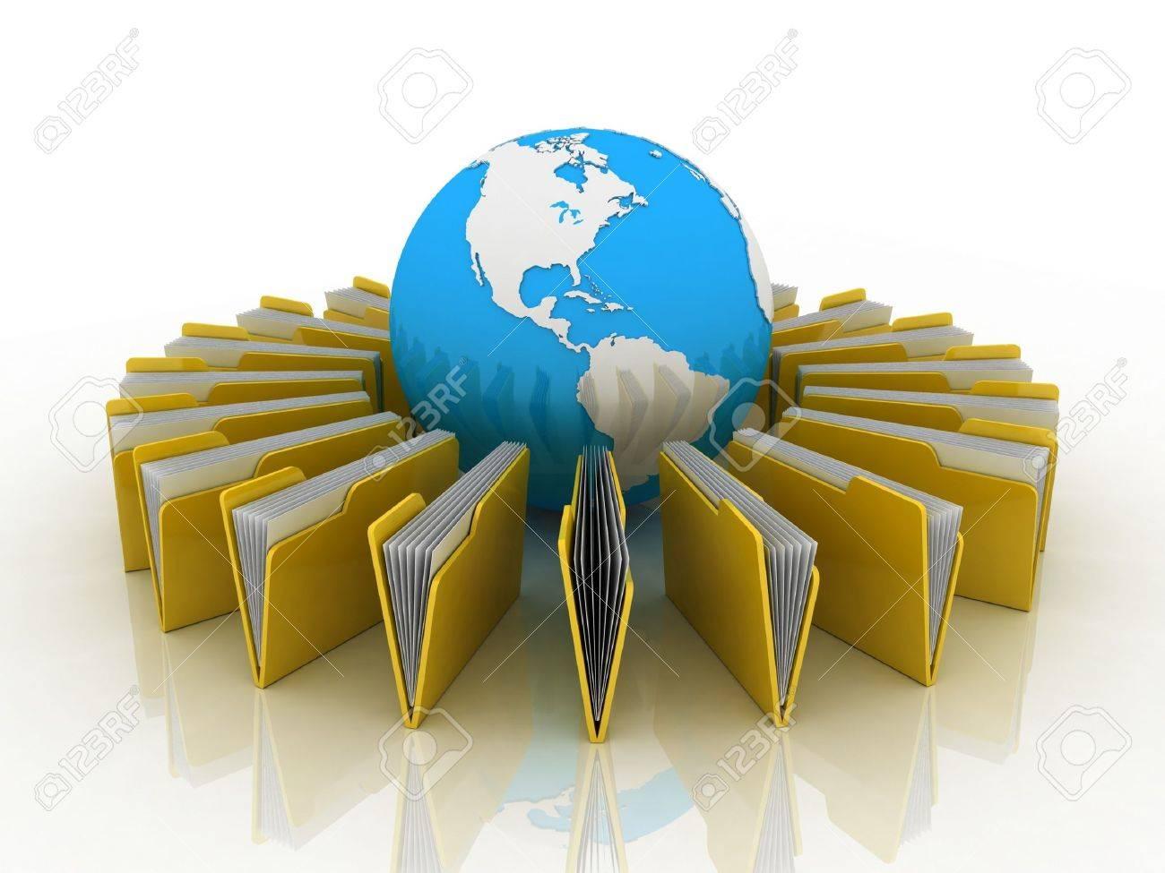 Transfer of documents. Forwarding files conceptual 3d illustration. Stock Illustration - 12115597